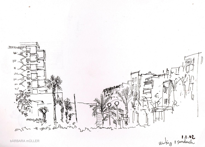 Dibujos de Bárbara Müller de Arrecife de Lanzarote islas canarias gran hotel