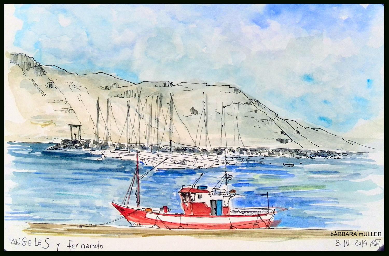 Angeles el barco graciosero de Fernando y Mingo en Caleta de Sebo, la Graciosa, Islas Canarias dibujado con acuarelas pro Bárbara MÜller