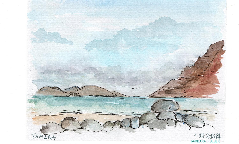 Famara con vistas a la Graciosa, dibujos de Bárbara Müller en lanzarote, islas canarias