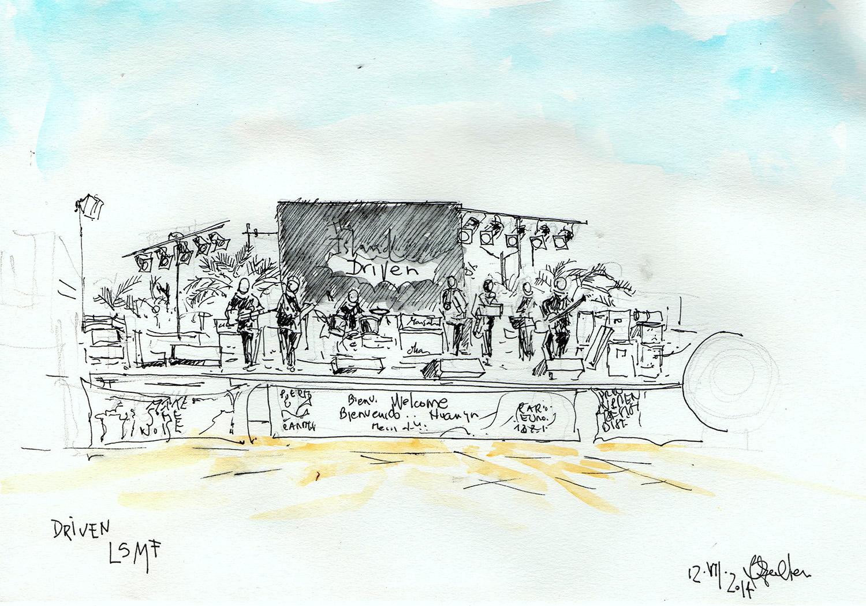 musica en vivo dibujos de barbara muller en lanzarote puerto del carmen canarias
