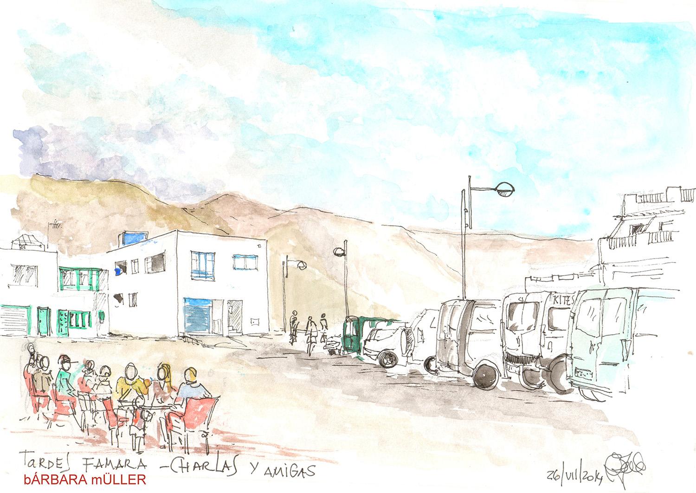 el chiringuito , arena en lso pies acuarelas y dibujos de Barbara Müller en Famara, Lanzarote, Islas Canarias