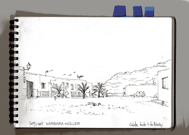 Dibujos de Bárbara Müller, en la Caleta de Sebo mirando el risco de famara en la graciosa canarias
