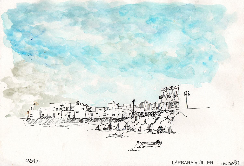 Puerta de salida..puertos de Lanzarote hacia la graciosa dibujos de Bárbara MÜller de la Patagonia y con color