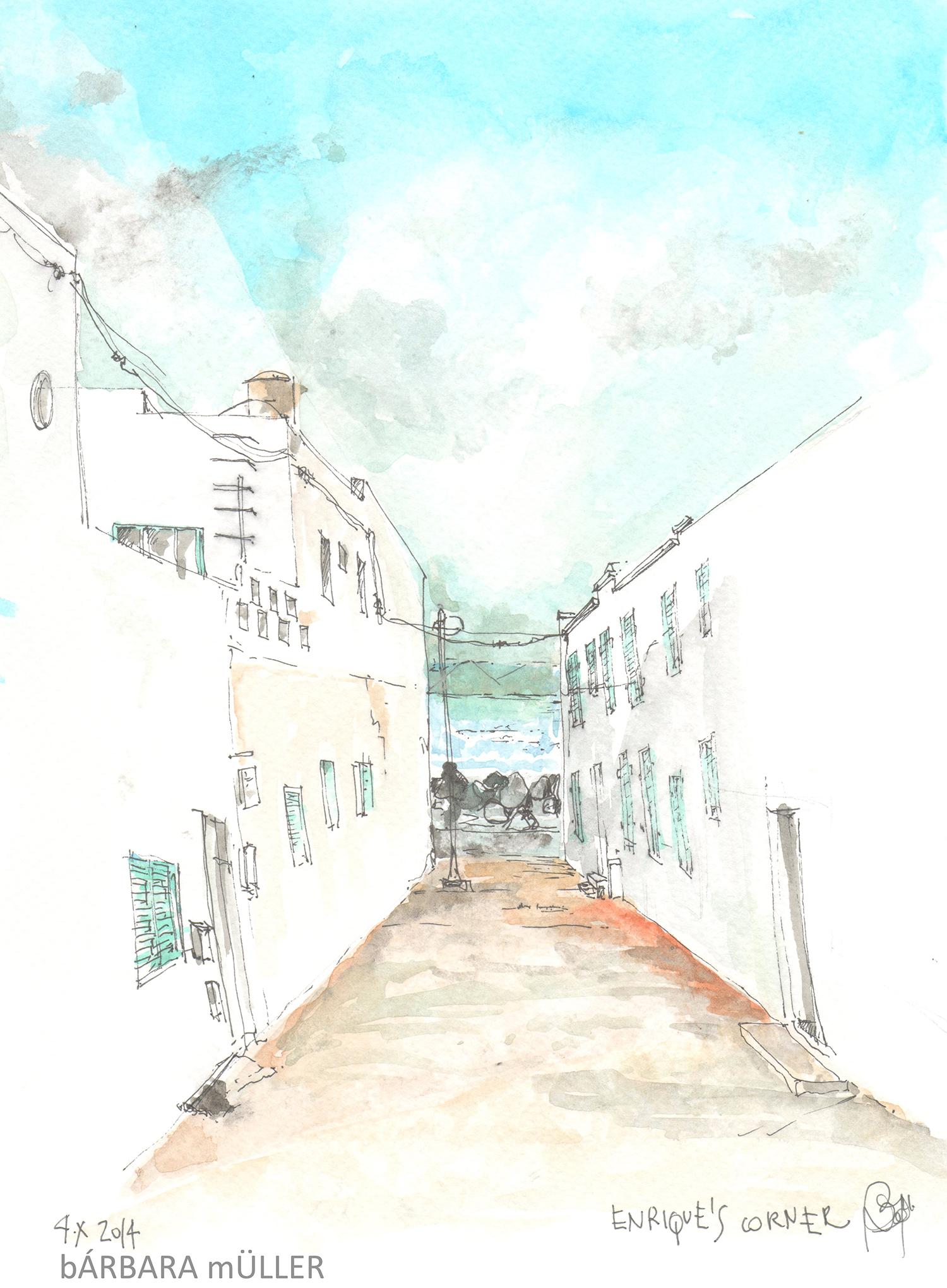 Enrique's corner en color dibujos acuraleas de Bárbara Müller en Famara Lanzarote Islas Canarias España