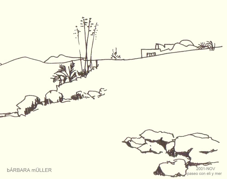 Dibujo de Bárbara Müller, outline de una playa y arquitectura lanzaroteña de Playa Quemada, en Lanzarote islas canarias