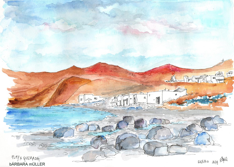 Playa quemada en las islas canarias dibujo y acuarelas de Bárbara Müller outline en lanzarote