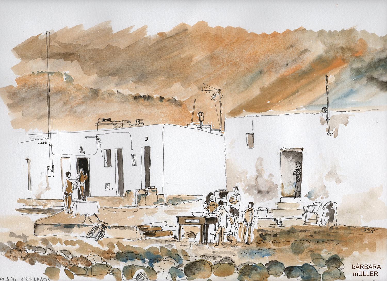 dibujo encargo para Maria José Lavega de Navarra dibujo de Bárbara MÜller de Playa Quemada en Lanzarote islas canarias