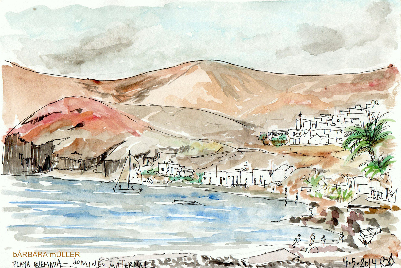 dibujo en el dia de la Madre de españa de bárbara Muller acuarelas outline en playa quemada, lanzarote islas canarias