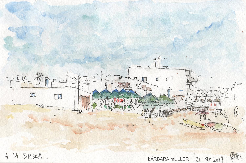 Dibujo y acuarela de Bárbara Müller, outline en la Graciosa Islas Canarias