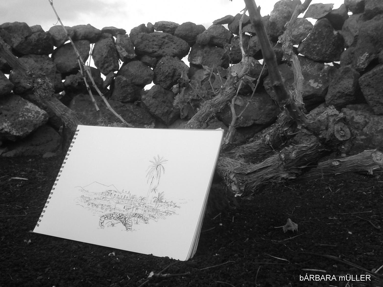 geria de lanzarote dibujos y acuarelas de barbara müller lanzarote islas canarias paisaje unicio sllencio