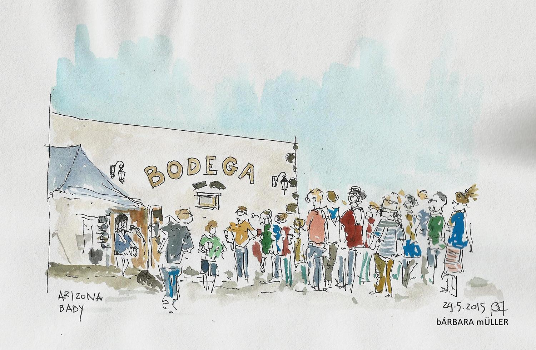 Bárbara Müller dibujos urban sketecher lanzarote islas canarias dibujos paisaje sonidos liquidos música la geria Arizona baby bodega La Florida