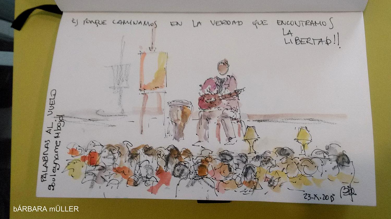 palabras al vuelo lanzarote canary island outline dibujos sketcher urban sketcher outline barbara Müller dibujos festival de cuentos people