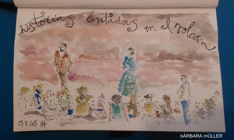 palabras al vuelo lanzarote canary island outline dibujos sketcher urban sketcher outline barbara Müller dibujos festival de cuentos people  volcano landscape music
