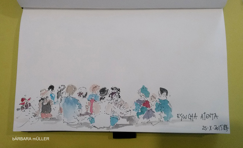palabras al vuelo lanzarote canary island outline dibujos sketcher urban sketcher outline barbara Müller dibujos festival de cuentos people  volcano landscape