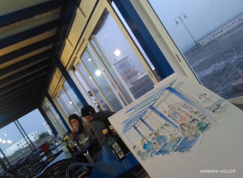 lanzarote canary island outline dibujos sketcher urban sketcher outline barbara Müller dibujos architecture tradition arrieta usklanzarote  restaurante arrieta marisqueria  el charcon vino la grieta