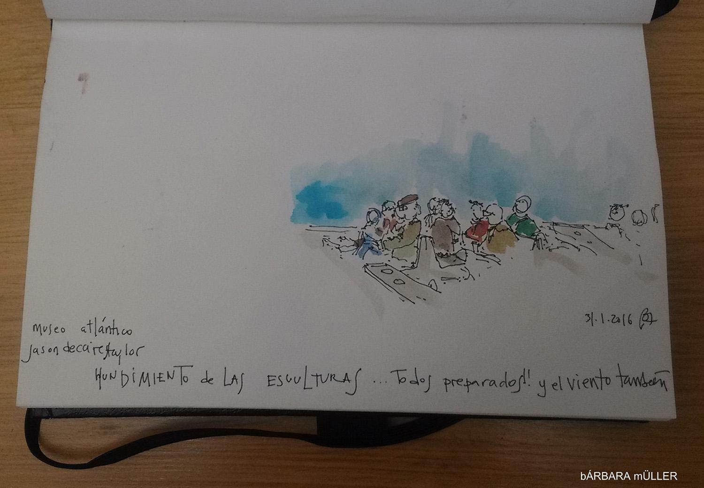 lanzarote canary island outline dibujos watercolour sketcher urban sketcher outline barbara Müller dibujos architecture usklanzarote  jasondecairestaylor scuture museo atlántico submarino