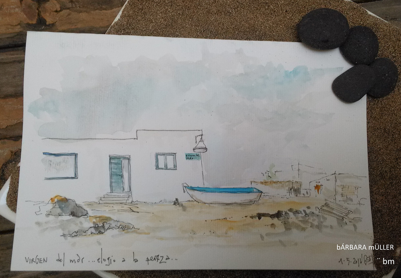 barbara muller canarias la graciosa dibujos acuarelas urbansketcers bmarquitecta outline paradise beach sea