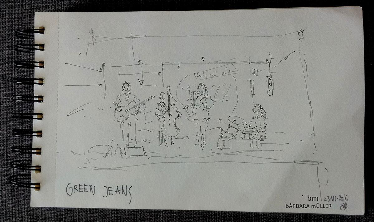 Música bmarquitecta bárbara Müller outline dibujos urban sketchers lifestyle nopuedoparardedibujar watercolour lanzarote canarias lifestlyle jazz