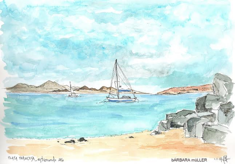 Bárbara Müller dibujos y acuarelas de la Playa Francesa en La Graciosa, Lanzarote y Canarias