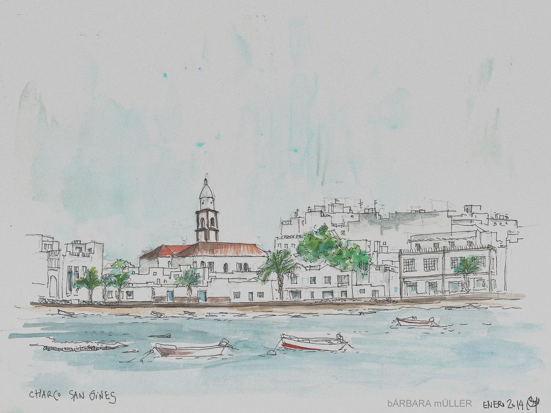 Charco de San Gines, Lanzarote, Islas Canarias dibujos de Bárbara Müller turismo en Arrecife