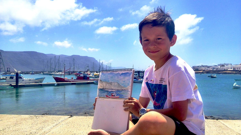Fernando, Angeles barco de pesca de Caleta de Sebo, La Graciosa, Islas Canarias, España y el mar
