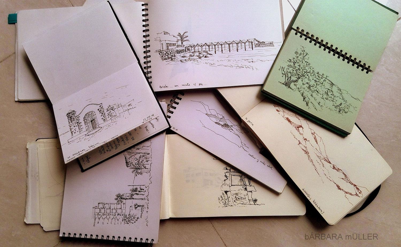 baul de los recuerdos dibujos de Bárbara MÜller de Lanzarote y La Graciosa Islas Canarias y el búl