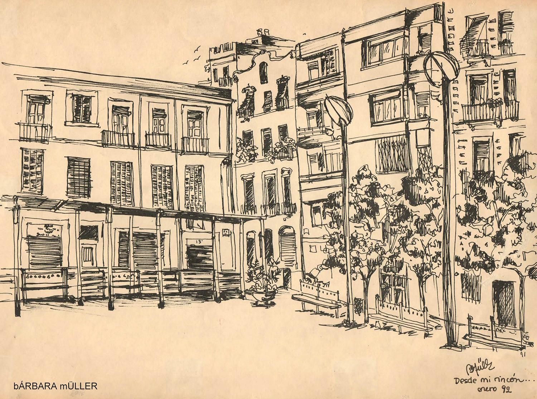 Plaça del sol en el barrio de Gracia dibujado por Bárbara Müller