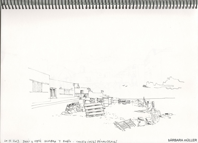 dibujo de Bárbara muller en la graciosa islas canarias lanzarote españa caleta de sebo