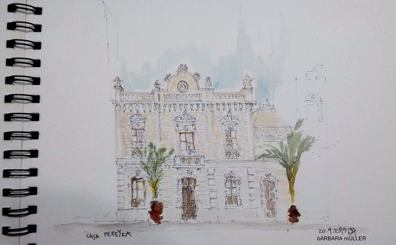 lanzarote canary island outline dibujos sketcher urban sketcher outline barbara Müller dibujos architecture tradition arrecife