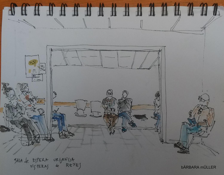 lanzarote canary island outline dibujos sketcher urban sketcher outline barbara Müller usklanzarote hospital sala de espera